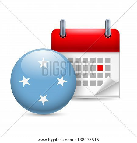 Calendar and round flag icon. National holiday in Federated States of Micronesia