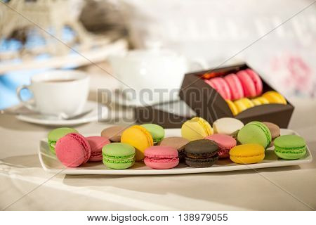 Dessert colorful Macarons red greend white tea