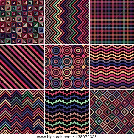 Set Of Abstract Background, 9 Dark Colorful Geometric Pattern, Vector Illustration. Texture Can Be U