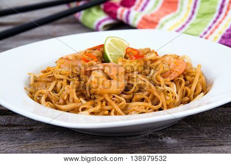 Shrimp Pad Thai noodle closeup on table
