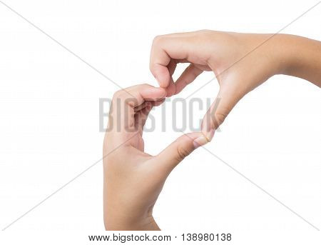 kid hands making a heart shape on a white isolated background