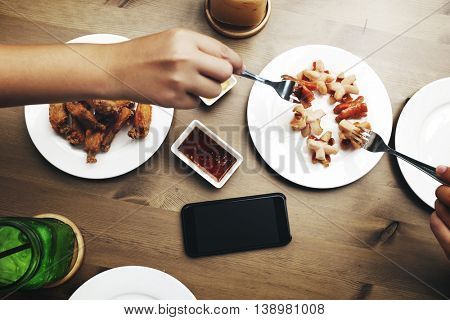 Appetizer Chicken Wings Contemporary Drinking Concept
