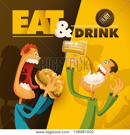 Food and drink illustration with comic guys. Vector illustration