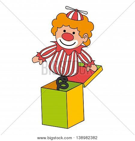 clown suprise box toy , black and white isolated flat icon