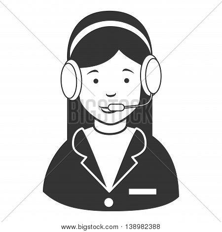 woman callcenter headphones , isolated flat icon cartoon