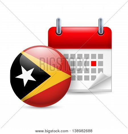 Calendar and round flag icon. National holiday in East Timor
