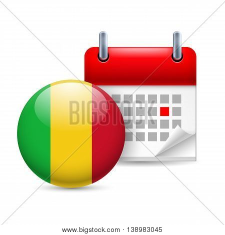 Calendar and round Malian flag icon. National holiday in Mali