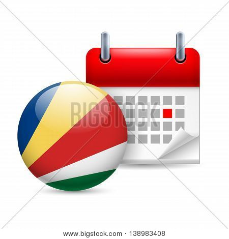 Calendar and round flag icon. National holiday in Seychelles