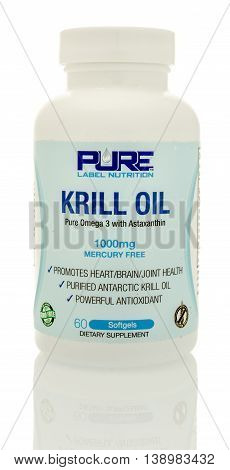 Winneconnie WI - 15 July 2016: Pure label nutrition krill oil on an isolated background.