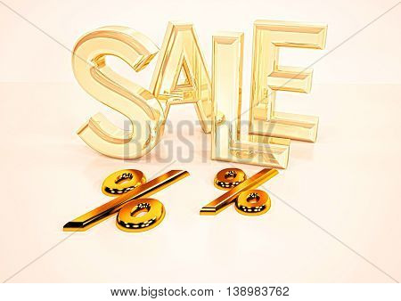 Dimensional inscription of SALE and percents near it. 3D illustration.