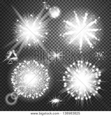 Creative concept Vector set of glow light effect stars bursts with sparkles isolated. Illustration template art design, flash energy ray