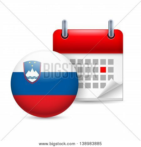 Calendar and round Slovene flag icon. National holiday in Slovenia