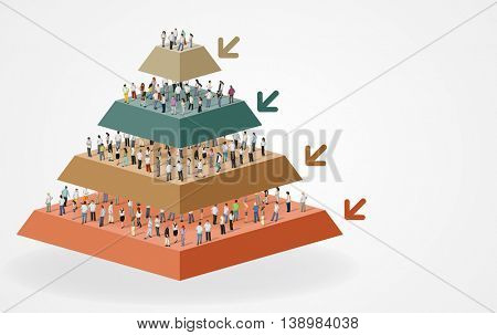 Pyramid chart with business people. Hierarchy chart.