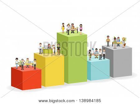 Bar chart with business people working with computer. Office workspace with desks. Hierarchy chart. Infographic design.