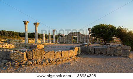 Ancient Greek basilica and marble columns in Chersonesus Taurica. Sevastopol, Crimea. Russia