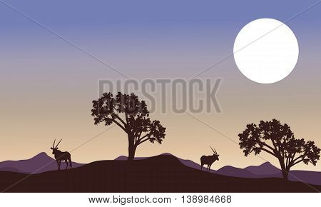 Antelope and full moon landscape silhouette vector art