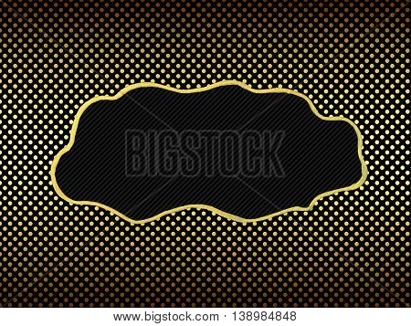 Blank tag gold border on polka dot with copy space