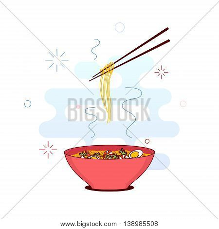 Chinese noodles and chopsticks made in trendy line style. Bowl of noodles with shrimps eggs and parsley. Chopsticks hovering above. South East Asian cuisine. Vector illustration.