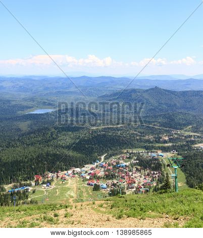 Scenic panorama view from the top of mountain