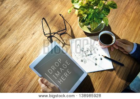 Digital Tablet Planning Strategy Marketing Copy Space Technology Concept
