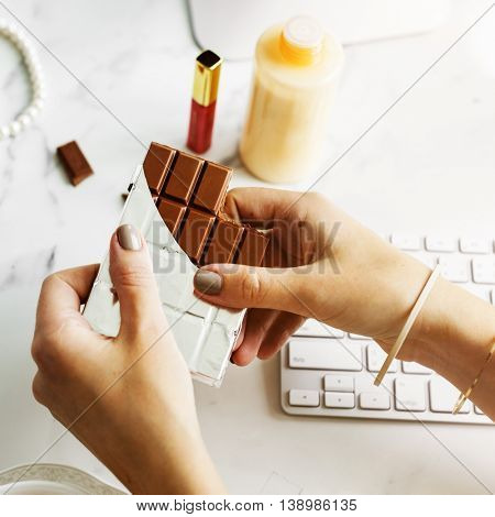 Chocolate Bar Sweet Snack Relaxation Happiness Concept