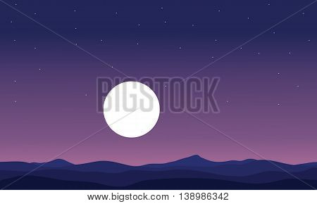 Landscape hill and full moon silhouette vector art