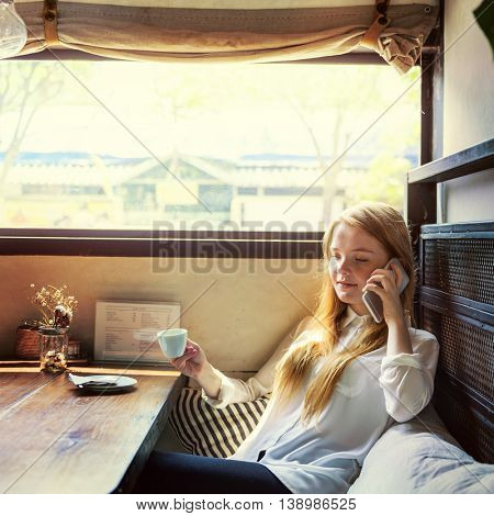 Girl Relaxing Coffee Cellphone Chill Concept