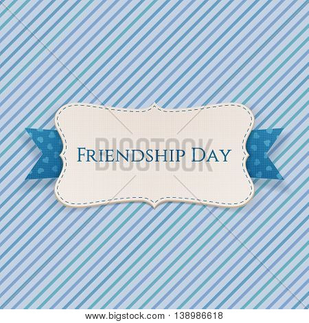 Friendship Day festive Label with Ribbon and Shadow. Vector Illustration