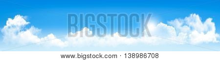 Background with blue sky and clouds. Vector