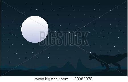Silhouette of Allosaurus and moon landscape illustration