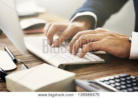 Hands Typing Keyboard Business Concept