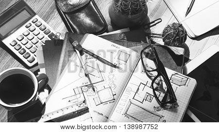 Design Interior Home Office Sketch Concept