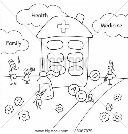 Family stories: health and medicine. Linear black and white.