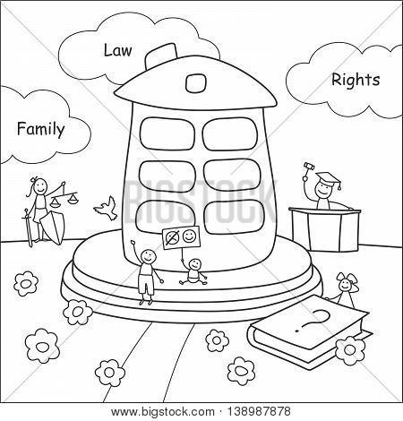 Family stories: law and rights. Linear black and white.