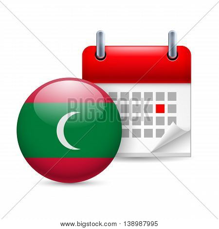 Calendar and Maldivian French flag icon. National holiday in Maldives