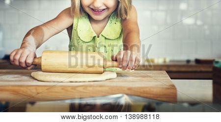 Bake Bakery Baker Chef Child Leisure Hobby Girl Concept