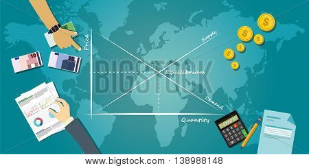 market equilibrium balance economy concept economic theory chart vector illustration