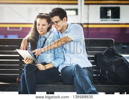 Couple Friendship Hangout Traveling Map Concept