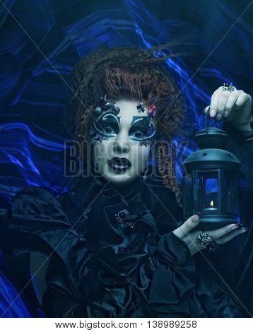 Gothic witch. Dark woman.Halloween picture.