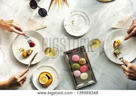 Aerial View Couple Eating Dessert Concept