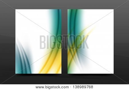 Wave pattern annual report business cover design. Brochure template layout magazine or flyer booklet in A4 size