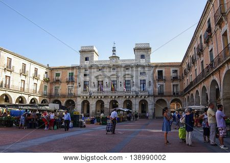 Avila, Spain - August 5, 2011 --View at the Town Hall and market square of medieval Avila town. Castile and Leon .