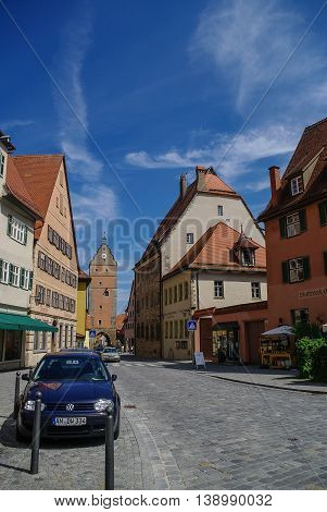 Dinkelsbuhl, Germany - August 28, 2010: Street view of medieval town Dinkelsbuhl one of the archetypal towns on the German Romantic Road.