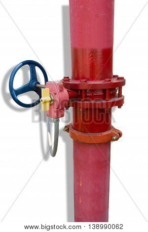 Supervisory valve for fire protection system on isolated white background.