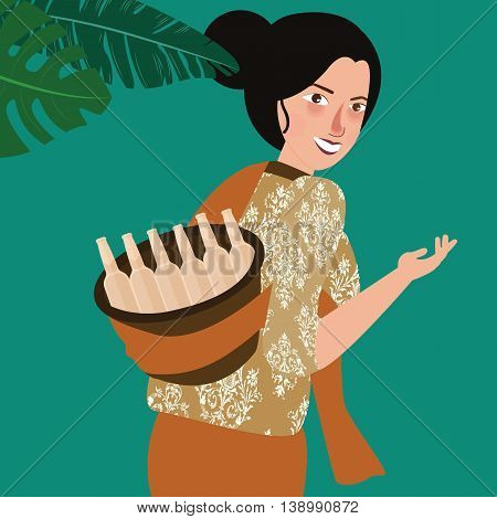 woman bring traditional drink in Indonesia vector