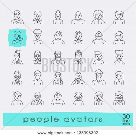 Set of people faces avatars. Collection of avatars related to various types of  people.