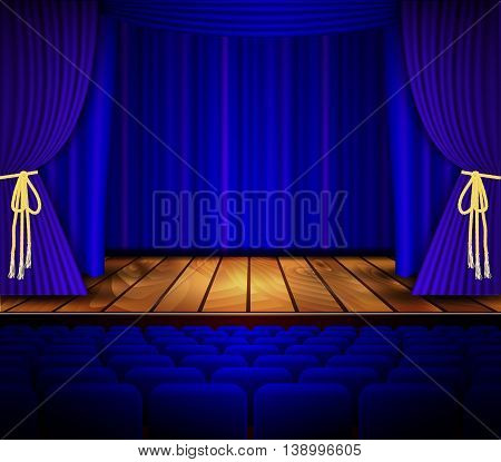 Cinema or theater scene with a curtain. Theater stage with wooden floor and blue curtain. Vector illustration