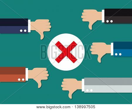 cartoon Businessmans hands hold thumbs down. negative checkmark in center. illustration in flat design on green background.