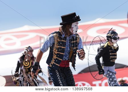 Costa Mesa, CA - July 16, 2016: Dragon Knights steampunk stilt walkers perform at the Orange County Fair in Costa Mesa, CA on July 16, 2016. Editorial use only.