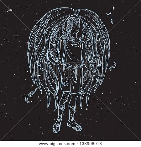 Angel or Archangel. Byblical supernatural creature messenger of God. Sketch drawing isolated on black night sky background with stars. Astrology illustration. EPS10 vector illustration.